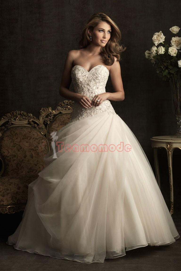 Stil Herz-Ausschnitt mit tiefer Taille aus Tüll langes Brautkleid