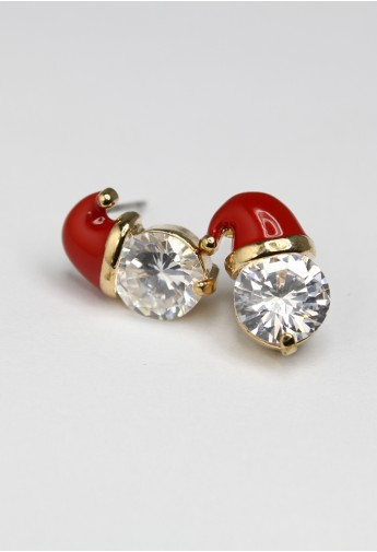 Crystal Christmas Cap Earrings - Retro, Indie and Unique Fashion