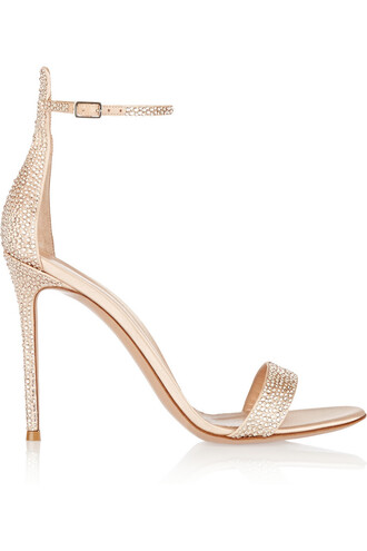 embellished sandals satin metallic beige shoes