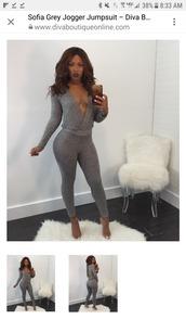 jumpsuit,grey,grey jump suit,black and white,Jogger suit,joggers pants,blackjumpsuit,bodysuit,long-sleeve dress,long-sleeve-jumper,classic,trendy