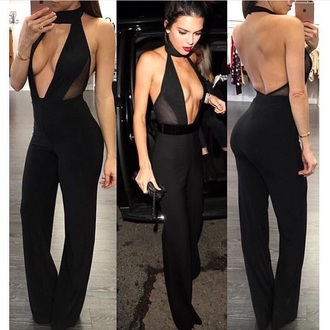jumpsuit kendall jenner black romper date outfit