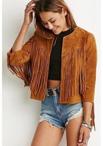 jacket short jacket spring camel tassel fashion cardigan women topshop