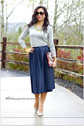 theboxqueen,blogger,top,skirt,shoes,bag,jewels,long sleeves,statement necklace,clutch,maxi skirt,blue skirt,grey heels,blouse