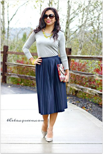 theboxqueen blogger top skirt shoes bag jewels long sleeves statement necklace clutch maxi skirt blue skirt grey heels