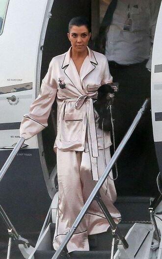 pants pajamas kourtney kardashian kardashians wide-leg pants blouse top
