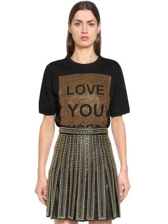 t-shirt shirt love embellished gold black top