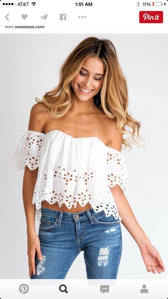 blouse white top off the shoulder top