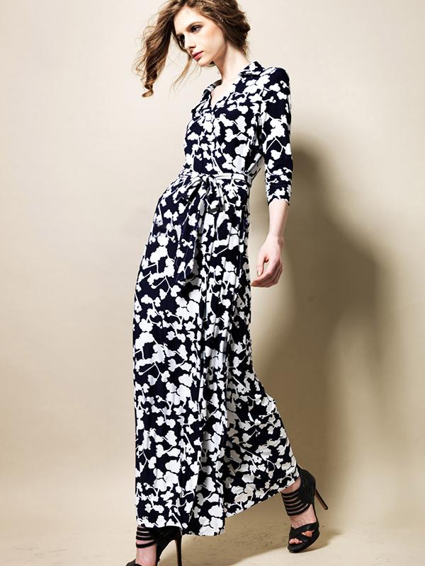 3/4 Sleeve Notch Lapel Print Maxi Vintage Dress : KissChic.com