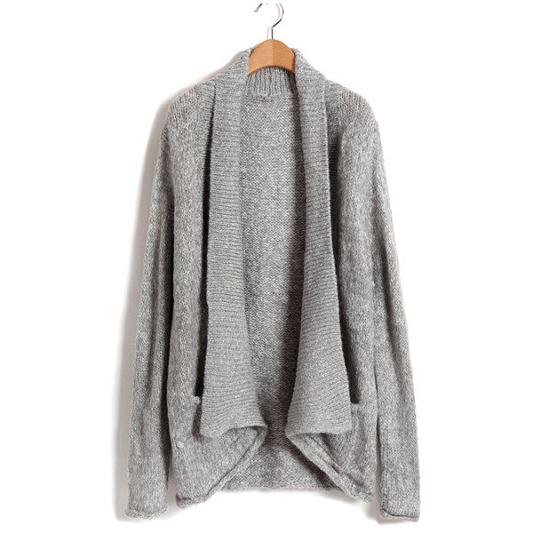 Longline Chunky Knit Cardigan in Grey - Polyvore