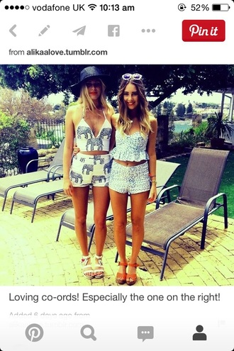 shorts coored two-piece summer girls top elephant
