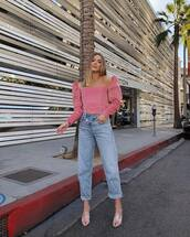 jeans,denim,asymmetrical,boyfriend jeans,mules,blouse,off the shoulder
