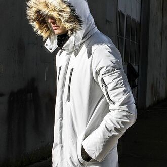 coat maniere de voir fur trim hooded jacket white padded winter outfits faux natural