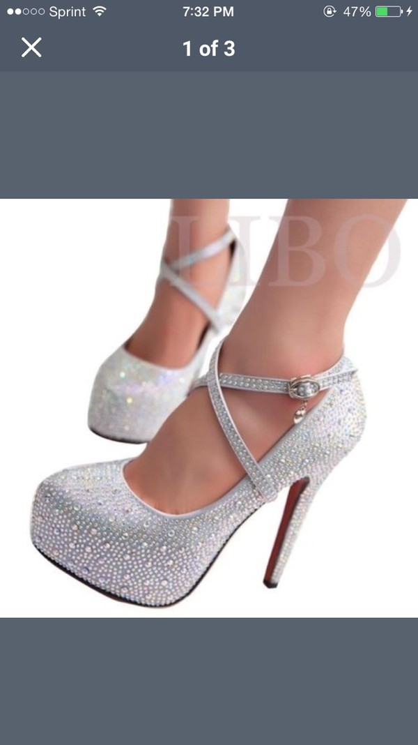 Buy prom heels wedding shoes women high heels crystal high ...