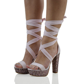shoes,pink lace up heels,lace up heels,ribbon heels,glitter heels,glitter,lace up sandals,glitter sandals