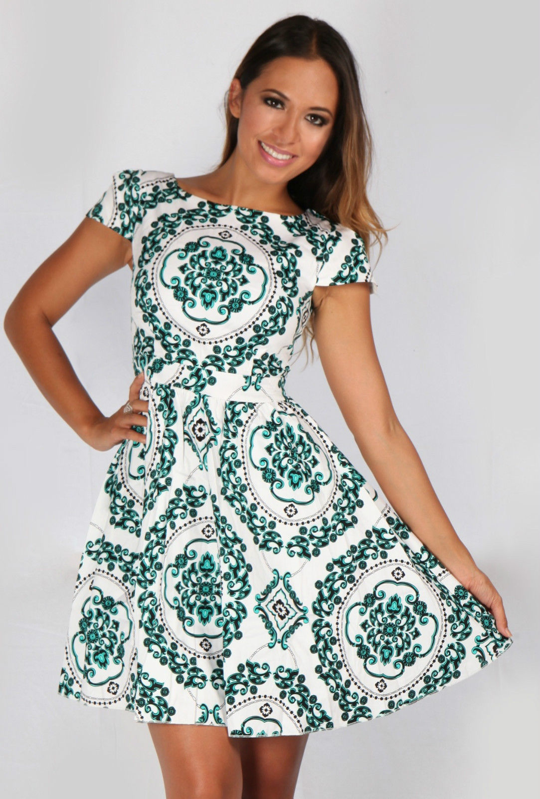 Green Floral Dress - Green Black u0026 White Skater   UsTrendy