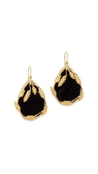 earrings gold black jewels