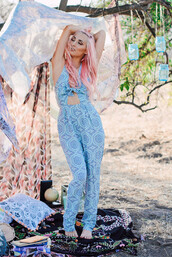 jumpsuit,minty jungle,baby blue,tapestry,cut-out,halter neck,cute,boho,bohemian