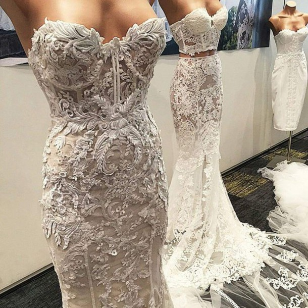 Dress White Wedding Accessories Nude Lace Maxi
