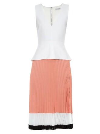 dress pleated flamingo white