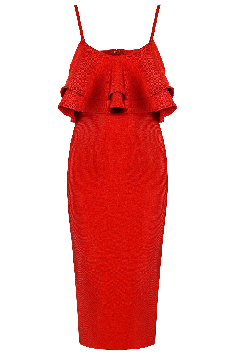 Ruffle Detail Midi Bandage Dress Red