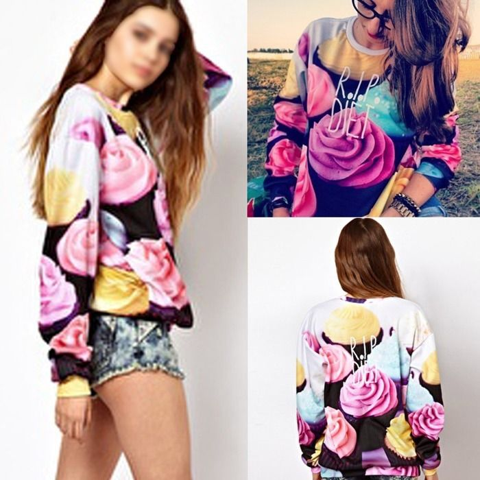 New Fashion Women Girls 3D Printed Sweatshirt Tops Pullover Sweater Hoodies USA | eBay