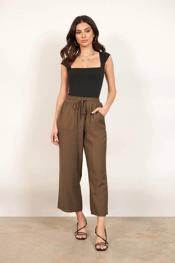 Once Again Olive Cropped Wide Leg Pants