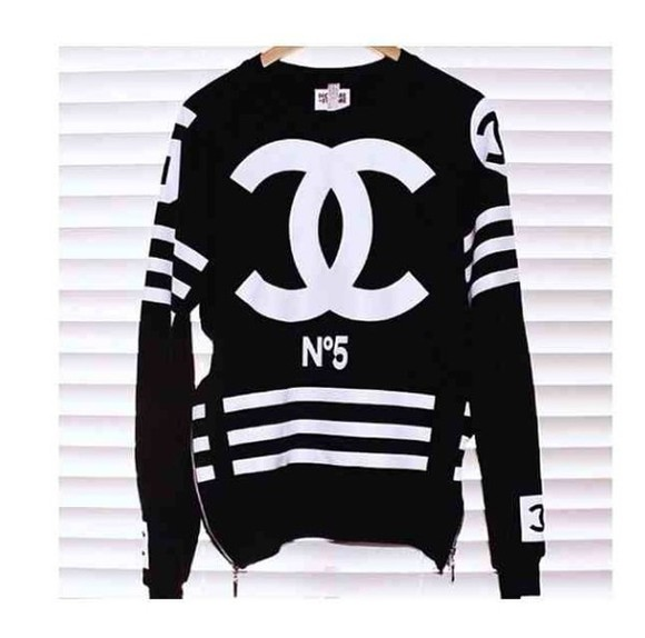sweater chanel oversized black double c monochrome zipper little black dress