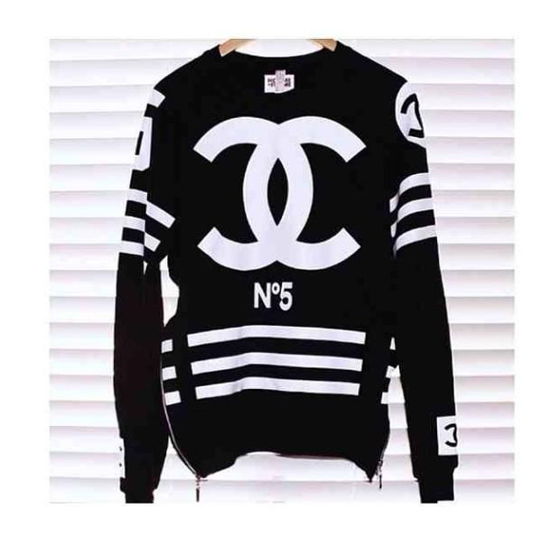 sweater chanel oversized black double c monochrome zip little black dress chanel
