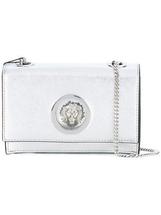 women clutch leather cotton grey metallic bag
