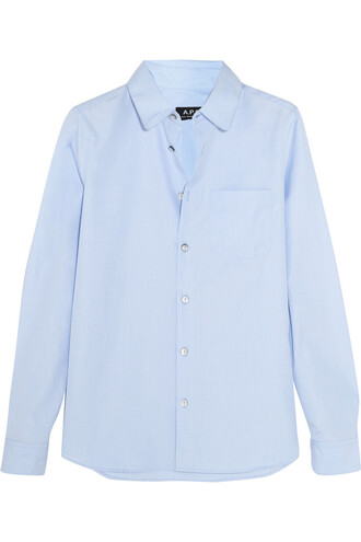 shirt cotton light blue light blue top