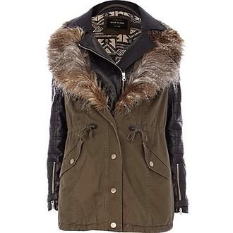 coat green fur fur parka faux
