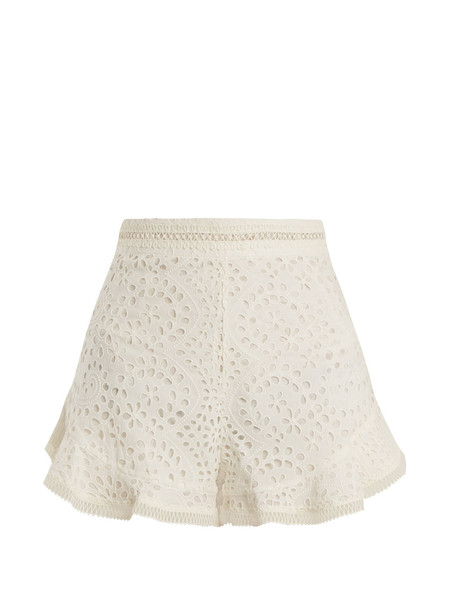 ZIMMERMANN Lovelorn broderie anglaise cotton shorts in ivory