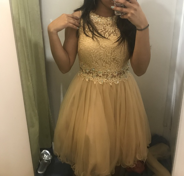 dress gold quinceanera dama dress