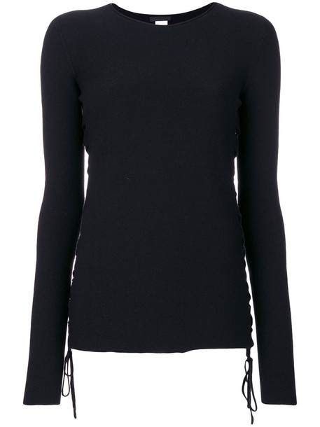 The Row - lace up sweater - women - Polyester/Wool - L, Black, Polyester/Wool
