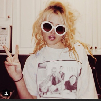 nirvana nirvana t-shirt sunglasses white band t-shirt kurt cobain round sunglasses 90s style soft grunge black cute dress lace white sunglasses grunge sassy funny badass flawless