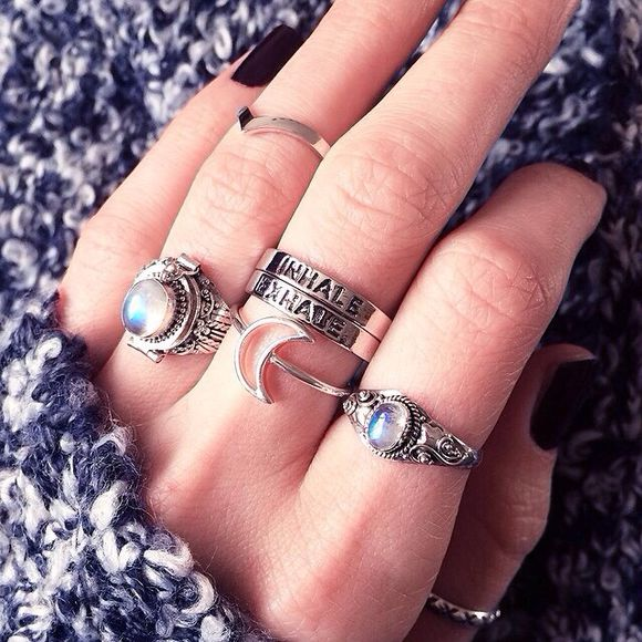 jewels moon ring stone boho natural stone moonstone ring ring inhale exhale silver rings,