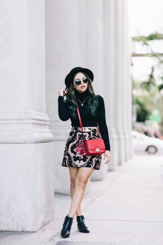 skirt embroidered skirt mini skirt printed skirt high waisted skirt top crop tops black crop top black top long sleeve crop top boots black boots ankle boots sunglasses hat black hat bag red bag crossbody bag