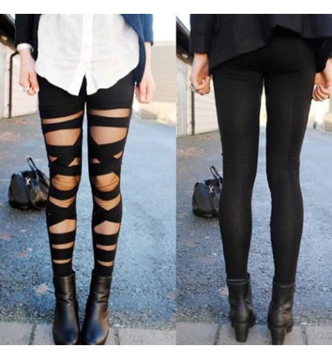 Bandage Black Leggings - Leggings - Socks & Leggings - Accessories