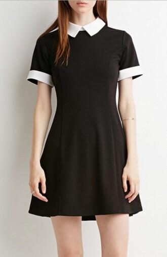 dress black collar skaterdress