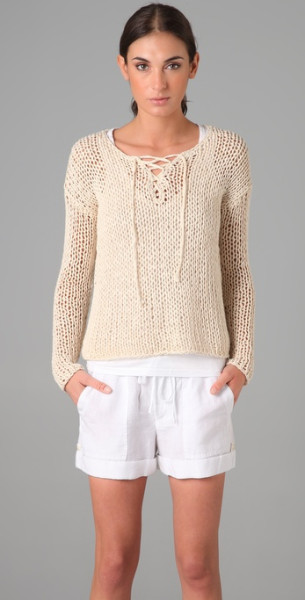 Vince lace up sweater in beige