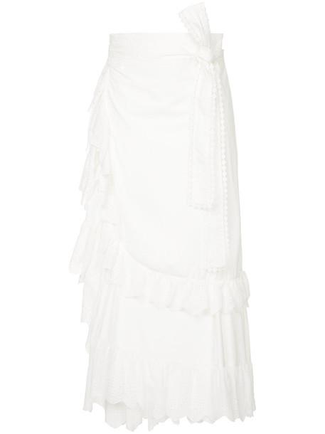 Lee Mathews skirt women lace white cotton