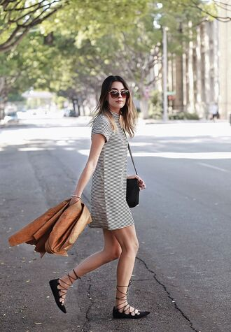 shoes grey casual dress brown jacket lace up flats blogger sunglasses