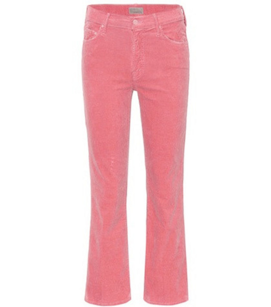 Mother The Outsider Cropped corduroy jeans in pink