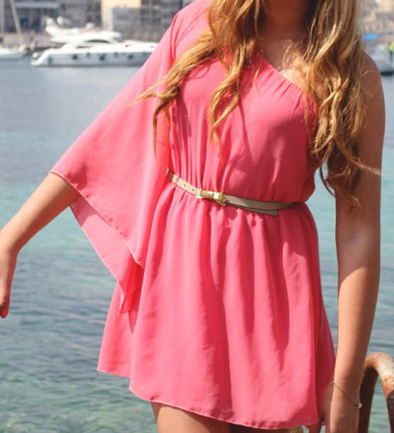 pink dress one shoulder floaty pink