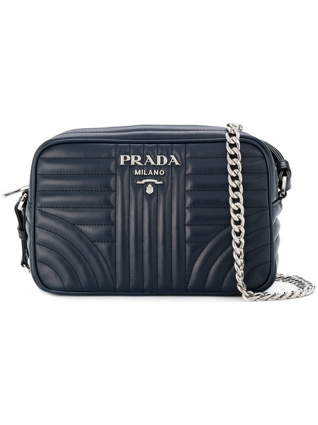 Prada women bag shoulder bag leather blue