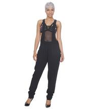 jumpsuit,overalls,black overalls,mesh,mesh overalls