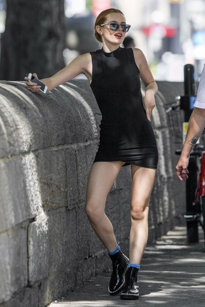 dress mini dress boots bella thorne sunglasses little black dress