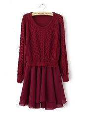 vintage dress,vintage,long sleeves,winter dress,knitting,women fashion,2014,wine red dreses