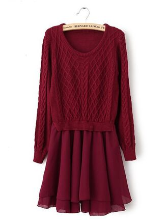 vintage knitting long sleeves winter dress vintage dress women fashion 2014 wine red dreses