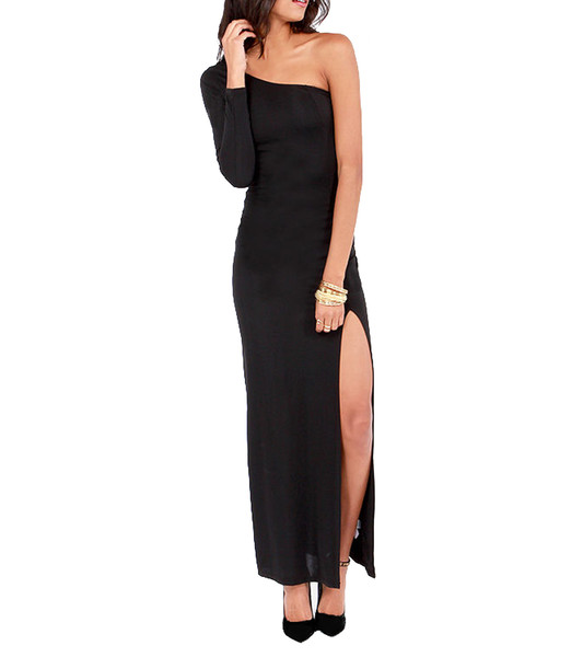 Andrea one shoulder slit maxi dress